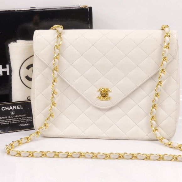 CHANEL Handbags - Chanel Vintage Quilted Lambskin Leather Bag 0aece7b12c0a8